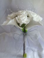 ARTIFICIAL WHITE CALLA LILY ROSE WEDDING FLOWERS BRIDESMAID BOUQUET SILVER